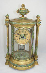 French 4 glass mantel clock front view