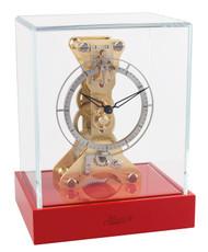 23047-R70762 - Hermle Skeleton Mantel Clock - Coral Red