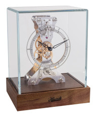 23051-087762 - Hermle Skeleton Mantel Clock - Rhodium / Dark Walnut