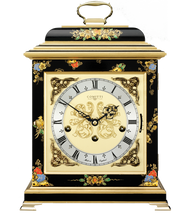 C4611TCH-B - Comitti of London Georgian Bracket Clock - Chinoiserie (Black)