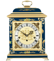 C4611TCH-BL - Comitti of London Georgian Bracket Clock - Chinoiserie (Blue)